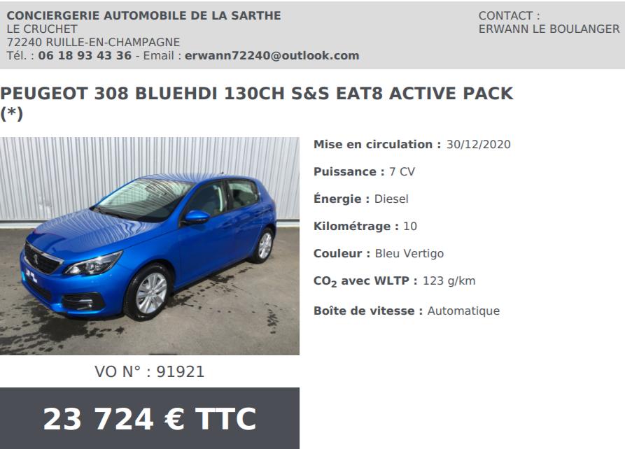 Peugeot 308 bluehdi 130ch s s eat8 active pack