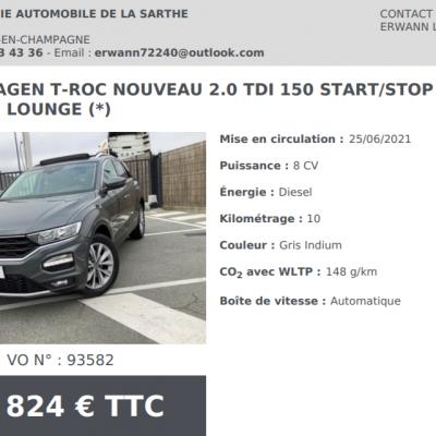 Volkswagen t roc nouveau 2 0 tdi 150 dsg7 4 motion lounge